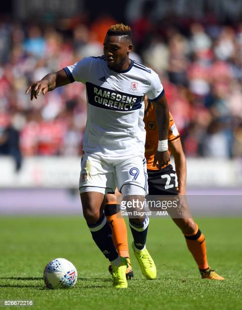 Britt Assombalonga of Middlesborough during the Sky Bet Championship match between Wolverhampton and Middlesbrough at Molineux on August 5 2017 in...