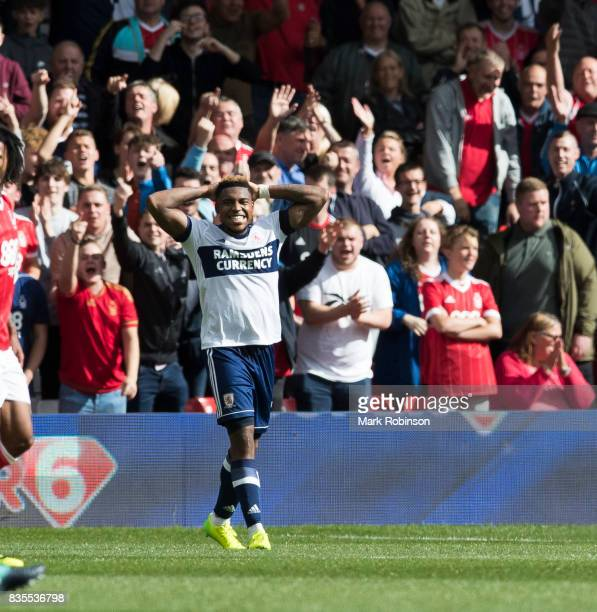 Britt Assombalonga of Middlesbrough after a missed chance during the Sky Bet Championship match between Nottingham Forest and Middlesbrough at City...