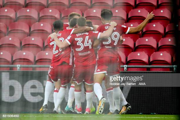 Britt Assombalonga of Middlesbrough celebrates after scoring a goal to make it 10 during the Sky Bet Championship match between Middlesbrough and...
