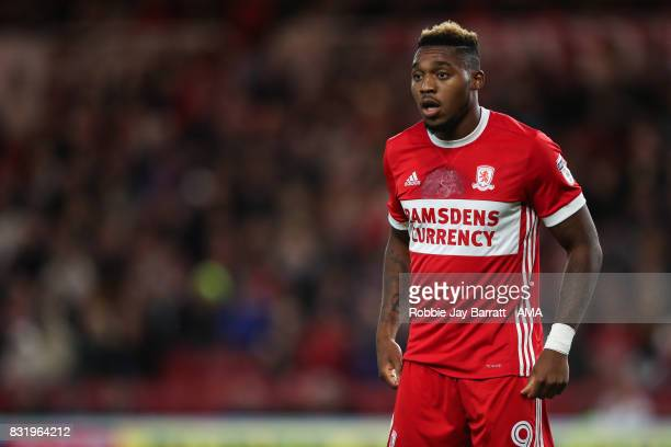 Britt Assombalonga of Middlesbrough during the Sky Bet Championship match between Middlesbrough and Burton Albion at Riverside Stadium on August 15...