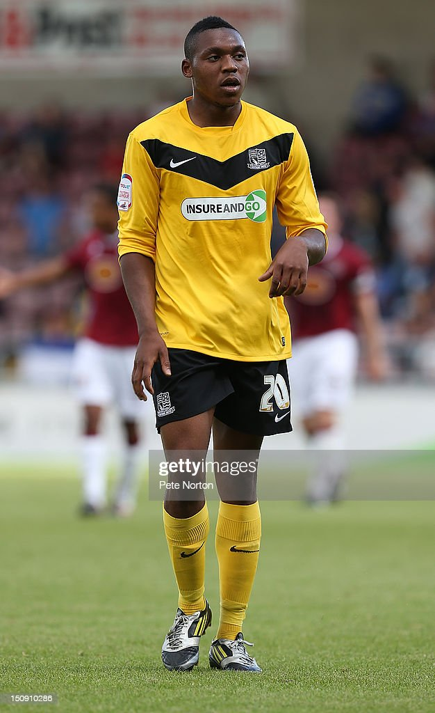 Britt Assombalonga of Southend United in action during the npower League Two match between Northampton Town and Southend United at Sixfields Stadium on August 25, 2012 in Northampton, England.