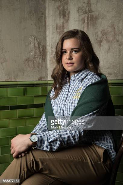Britt Cox poses ahead of the Australian Olympic Committee 2018 Winter Olympic Games uniform launch at The Palisade Hotel on October 20 2017 in Sydney...