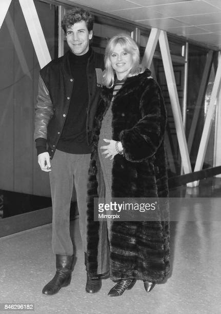 Britt Ekland Actress with husband Slim Jim McDonell leaving Heathrow for Los Angeles 8 weeks before baby is due January 1988