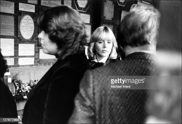 Britt Ekland at the funeral of her former husband Peter Sellers 1980