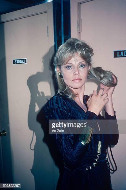 Britt Ekland fixing her hair circa 1970 New York
