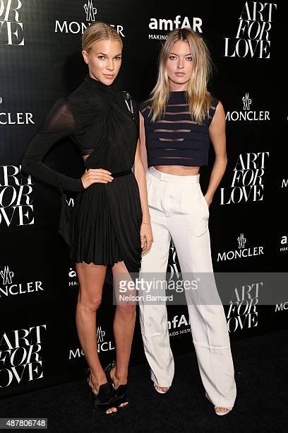Britt Maren and Martha Hunt attend a private viewing and dinner for Art For Love 32 Photographers Interpret The Iconic Moncler Maya Jacket hosted by...