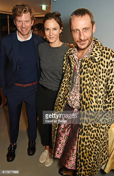 Britt Moran Fran Hickman and Emiliano Salci attend the Frette London store launch on October 6 2016 in London England