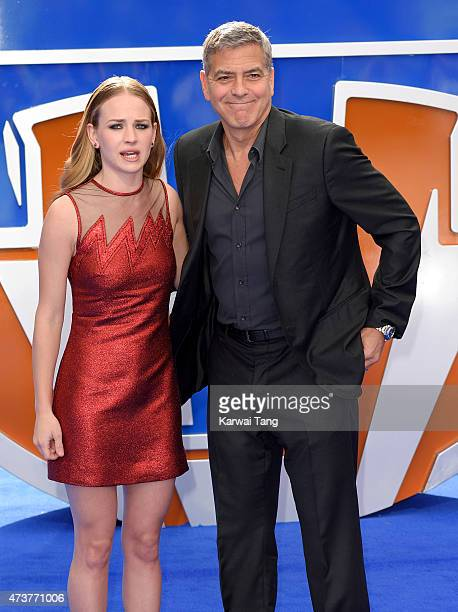Britt Robertson and George Clooney attend the European premiere of 'Tomorrowland A World Beyond' at Odeon Leicester Square on May 17 2015 in London...