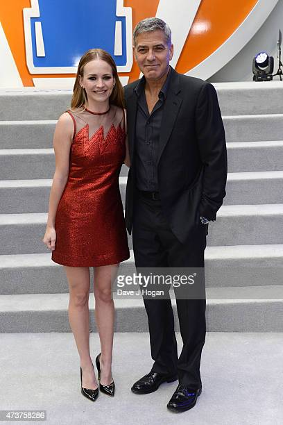 Britt Robertson and George Clooney attend the Tomorrowland A World Beyond European premiere at Leicester Square on May 17 2015 in London England