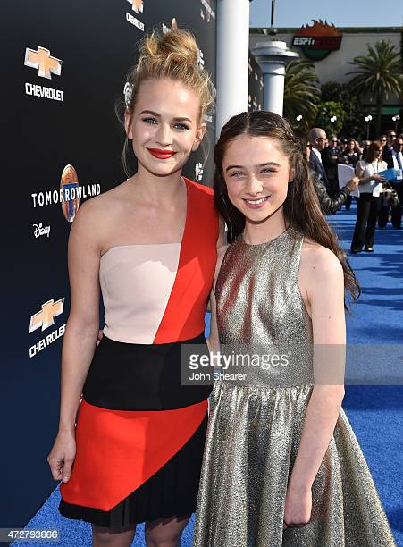 Britt Robertson and Raffey Cassidy attend the premiere of Disney's 'Tomorrowland' at AMC Downtown Disney 12 Theater on May 9 2015 in Anaheim...