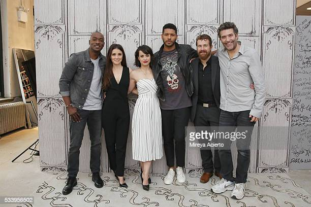 BJ Britt Shiri Appleby Constance Zimmer Jeffrey BowyerChapman Josh Kelly and Craig Bierko from the television show 'UnREAL' visit AOL Studios in New...