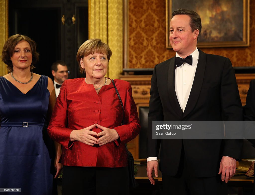 Britta Ernst (L) British Prime Minister <a gi-track='captionPersonalityLinkClicked' href=/galleries/search?phrase=David+Cameron+-+Politician&family=editorial&specificpeople=227076 ng-click='$event.stopPropagation()'>David Cameron</a> (R) and German Chancellor <a gi-track='captionPersonalityLinkClicked' href=/galleries/search?phrase=Angela+Merkel&family=editorial&specificpeople=202161 ng-click='$event.stopPropagation()'>Angela Merkel</a> attend the annual Matthiae-Mahl dinner at Hamburg City Hall on February 12, 2016 in Hamburg, Germany. The two leaders are there on the invitation of Hamburg Mayor Olaf Scholz, who reportedly saw the dinner as a gesture to show Germany's hope that Great Britain will remain in the European Union. The Matthiae-Mahl is a Hamburg tradition dating back to 1356 and began as a fest to welcome the spring season and also to honor a foreign official.