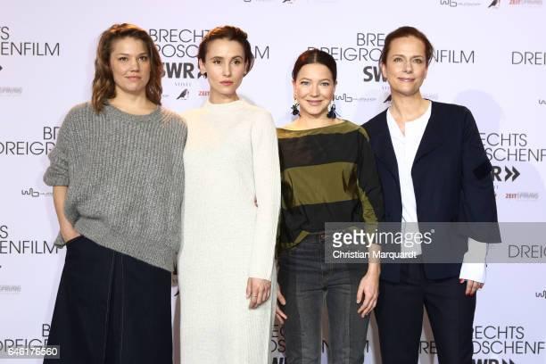 Britta Hammelstein Peri Baumeister Hannah Herzsprung and Claudia Michelsen attend the photo call for the film 'Brechts Dreigroschenfilm' on February...
