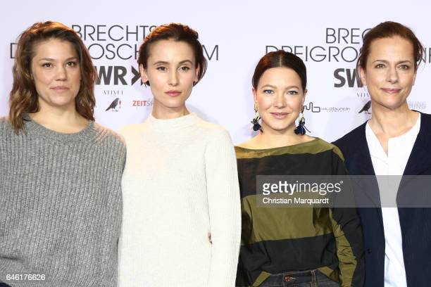Britta Hammelstein Peri Baumeister Hannah Herzsprung and Claudia Michelsen attend the photo call for the film 'Brechts Dreigroschenfilm' on February...