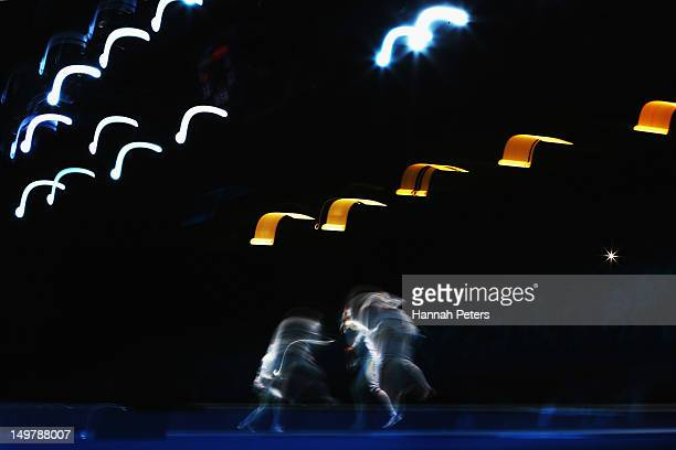 Britta Heidemann of Germany competes against Anfisa Pochkalova of Ukraine during the Women's Epee Team Fencing classification 58 match on Day 8 of...