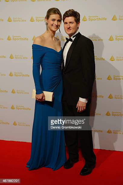 Britta Heidemann poses with her partner Torsten Weber on her arrival at the Ball des Sports 2014 at RheinMainHalle on February 8 2014 in Wiesbaden...