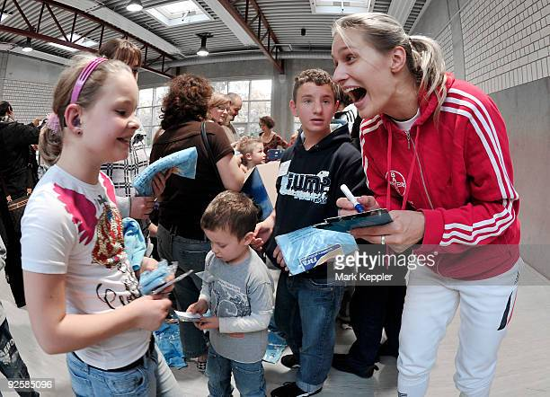 Britta Heidemann signs autographs during a fencing cup at KurtRiess sports ground on October 31 2009 in Leverkusen Germany