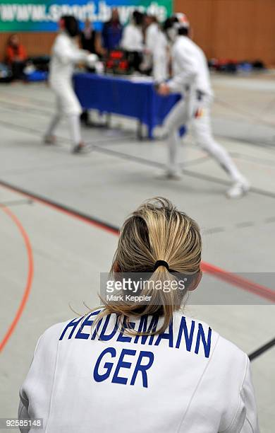 Britta Heidemann watches a fencing duel during the fencing cup at KurtRiess sports ground on October 31 2009 in Leverkusen Germany