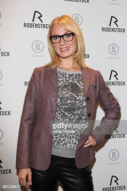 Britta Hofmann with glasses during the Rodenstock Bogner press conference at Messe Muenchen on January 9 2015 in Munich Germany