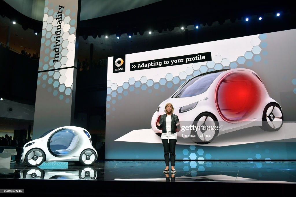 Britta Seeger, member of the Board of Management at Daimler AG, presents the new Smart Vision EQ at the 2017 Frankfurt Auto Show on September 12, 2017 in Frankfurt am Main, Germany. The Frankfurt Auto Show is taking place during a turbulent period for the auto industry. Leading companies have been rocked by the self-inflicted diesel emissions scandal. At the same time the industry is on the verge of a new era as automakers commit themselves more and more to a future that will one day be dominated by electric cars.
