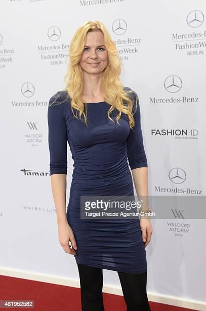 Britta Steffen attends the Irene Luft show during the MercedesBenz Fashion Week Berlin Autumn/Winter 2015/16 at Brandenburg Gate on January 22 2015...