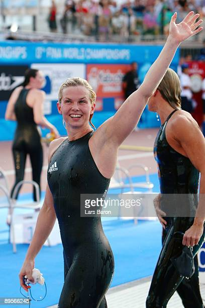 Britta Steffen of Germany celebrates after breaking the world record setting a new time of 2373 seconds in the Women's 50m Freestyle Final at the...