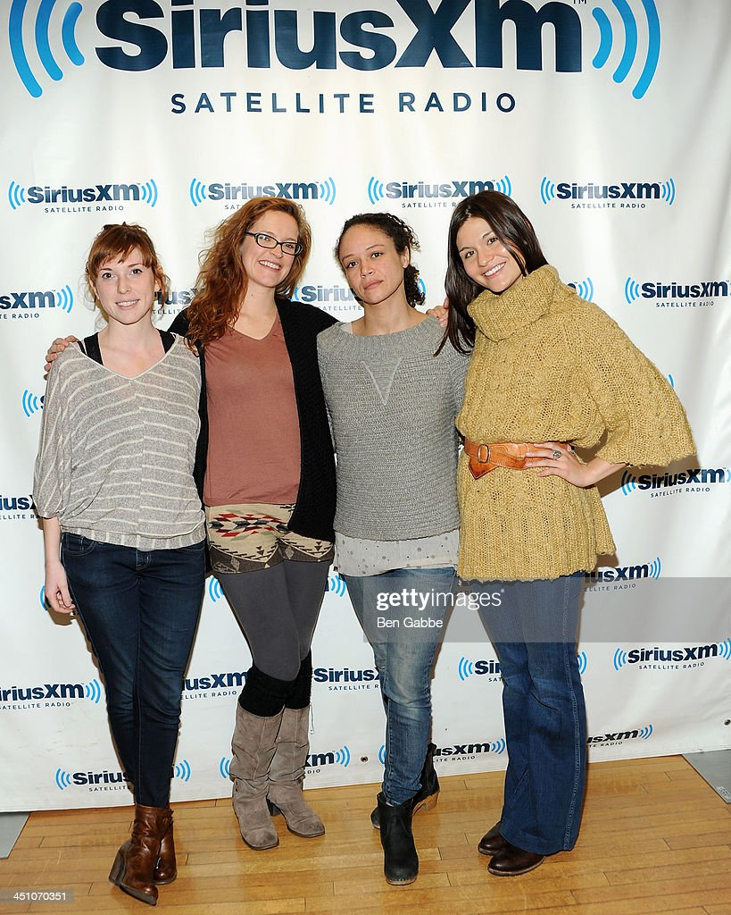 Brittain Ashford, Grace McLean, Amber Gray and Phillipa Soo of Natasha Pierre & the Great Comet of 1812 visit SiriusXM Studios on November 21, 2013 in New York City.