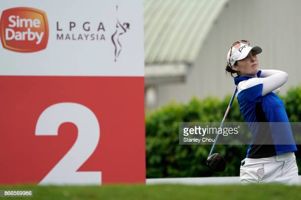 Brittany Altomare of the United States plays on the 2nd hole during day one of the Sime Darby LPGA Malaysia at TPC Kuala Lumpur East Course on...