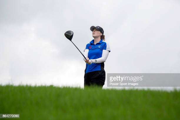 Brittany Altomare of the United States tees off on the 7th hole during day three of the Swinging Skirts LPGA Taiwan Championship on October 21 2017...