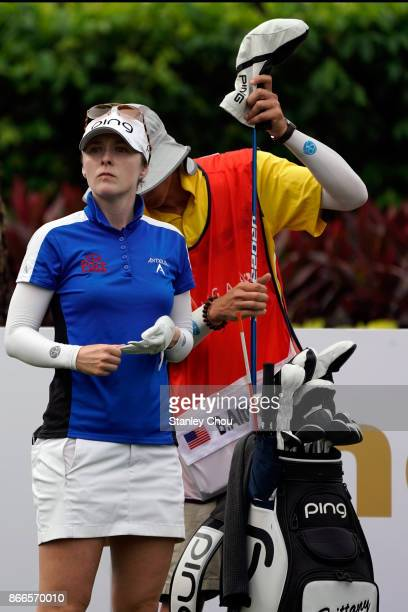 Brittany Altomare of the United States waits on the 2nd hole during day one of the Sime Darby LPGA Malaysia at TPC Kuala Lumpur East Course on...