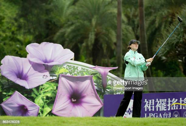 Brittany Altomare of the USA tees off on the 12th hole during day two of the Swinging Skirts LPGA Taiwan Championship on October 20 2017 in Taipei...