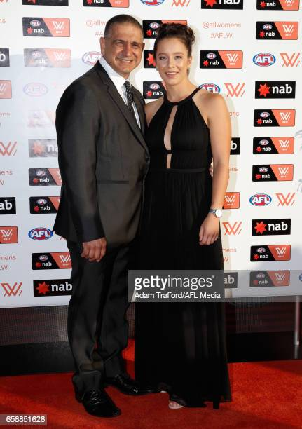 Brittany Bonnici of the Magpies arrives with family during the The W Awards at the Peninsula on March 28 2017 in Melbourne Australia