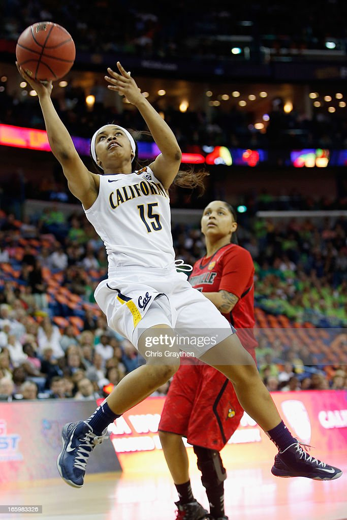 Brittany Boyd #15 of the California Golden Bears shoots the ball over Monique Reid #33 of the Louisville Cardinals during the National Semifinal game of the 2013 NCAA Division I Women's Basketball Championship at the New Orleans Arena on April 7, 2013 in New Orleans, Louisiana.