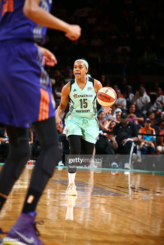 Brittany Boyd #15 of the New York Liberty brings the ball up court against the Phoenix Mercury on June 26, 2016 at Madison Square Garden in New York, New York.