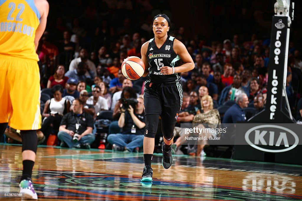 Brittany Boyd #15 of the New York Liberty dribbles the ball against the Chicago Sky on June 24, 2016 at Madison Square Garden in New York, New York.