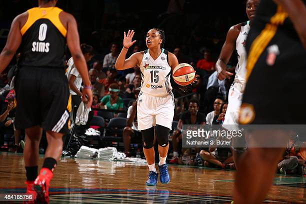 Brittany Boyd of the New York Liberty handles the ball against the Tulsa Shock on August 15 2015 at Madison Square Garden New York City New York NOTE...