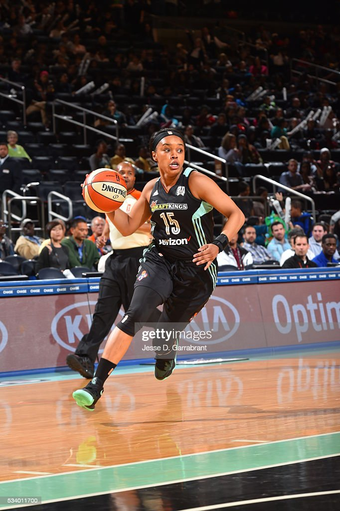Brittany Boyd #15 of the New York Liberty handles the ball against the Atlanta Dream on May 24, 2016 at Madison Square Garden in New York City, New York.