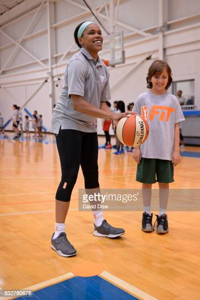 Brittany Boyd of the New York Liberty helps host a WNBA FIT Clinic on August 15 2017 at the Madison Square Garden Training Facility in Tarrytown New...