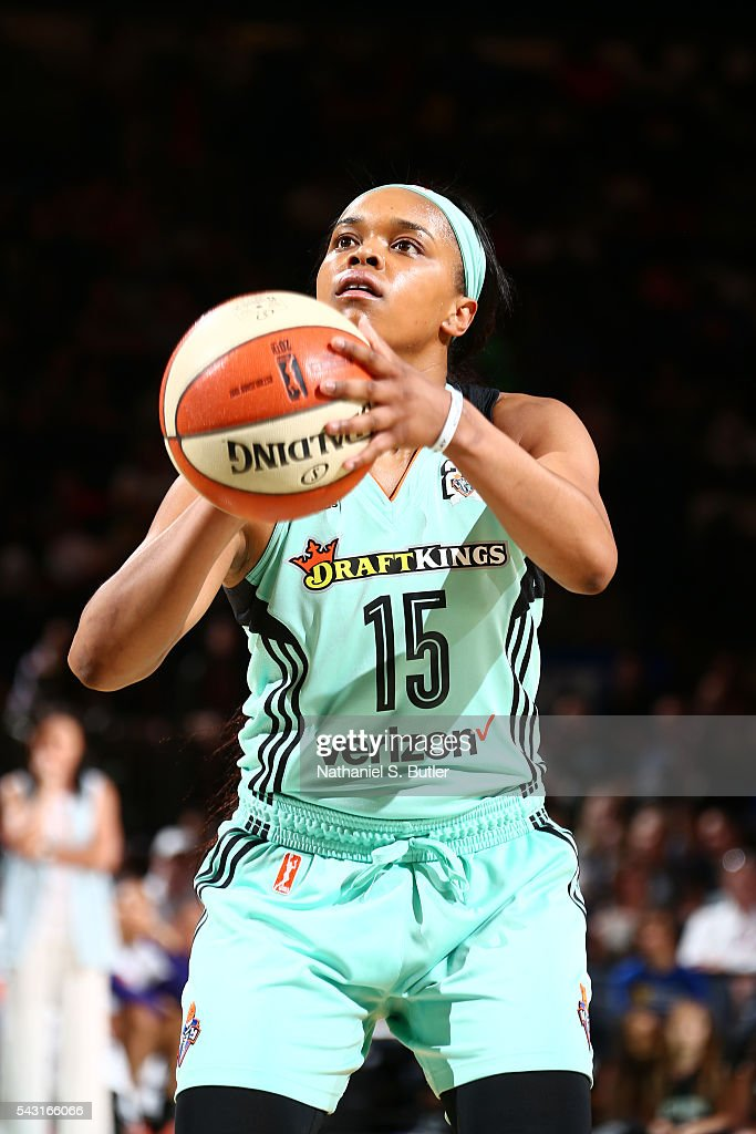 Brittany Boyd #15 of the New York Liberty shoots a free throw against the Phoenix Mercury on June 26, 2016 at Madison Square Garden in New York, New York.