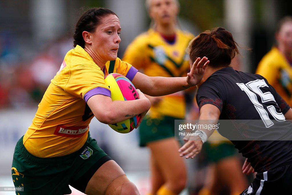 Steph Hancock of the Australian Jillaroos is tackled during the 2016 Auckland Nines match between the Australian Jillaroos and the New Zealand Ferns at Eden Park on February 6, 2016 in Auckland, New Zealand.