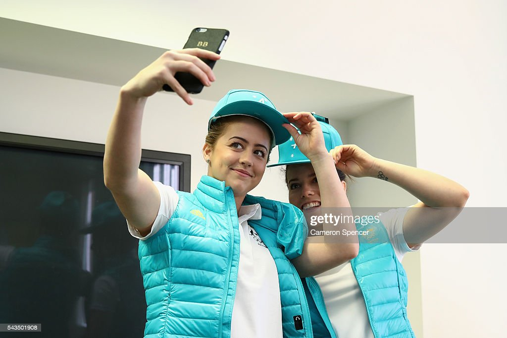 <a gi-track='captionPersonalityLinkClicked' href=/galleries/search?phrase=Brittany+Broben&family=editorial&specificpeople=7755023 ng-click='$event.stopPropagation()'>Brittany Broben</a> and Annabelle Smith pose for a selfie during the Australian Olympic Games diving team announcement at the Museum of Contemporary Art on June 29, 2016 in Sydney, Australia.
