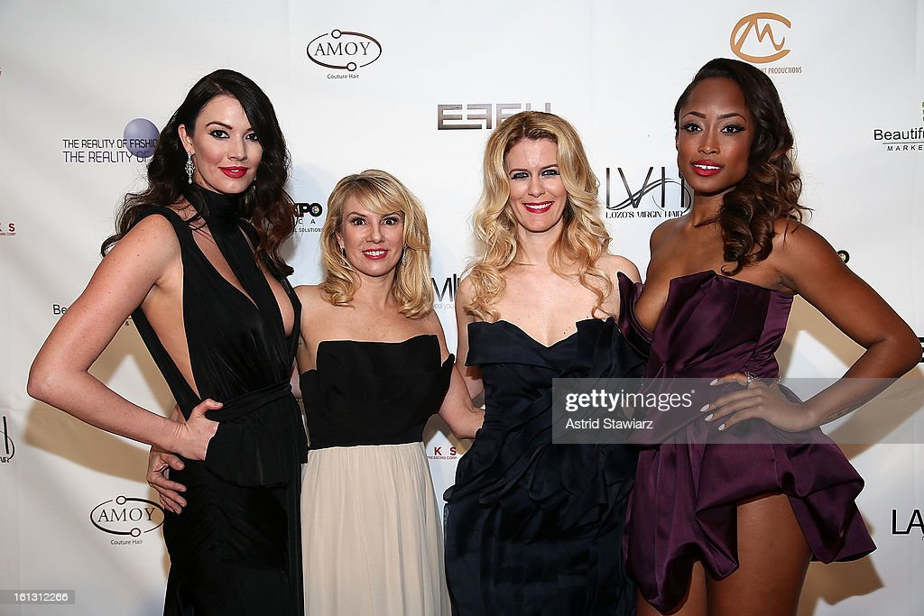Brittany Brower, <a gi-track='captionPersonalityLinkClicked' href=/galleries/search?phrase=Ramona+Singer&family=editorial&specificpeople=4949817 ng-click='$event.stopPropagation()'>Ramona Singer</a>, <a gi-track='captionPersonalityLinkClicked' href=/galleries/search?phrase=Alex+McCord&family=editorial&specificpeople=4697416 ng-click='$event.stopPropagation()'>Alex McCord</a> and <a gi-track='captionPersonalityLinkClicked' href=/galleries/search?phrase=Keenyah+Hill&family=editorial&specificpeople=603915 ng-click='$event.stopPropagation()'>Keenyah Hill</a> pose for photos backstage at the Reality of FASHION the Reality of AIDS fall 2013 fashion show during Mercedes-Benz Fashion Week at the Altman Building on February 9, 2013 in New York City.