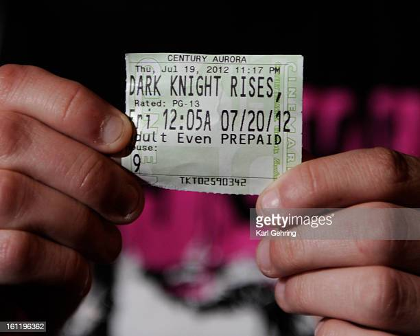 Brittany Diemer showed the ticket stub for the Dark Knight Rises Friday morning She was in the theatre when a gunmen opened fire on moviegoers Aurora...