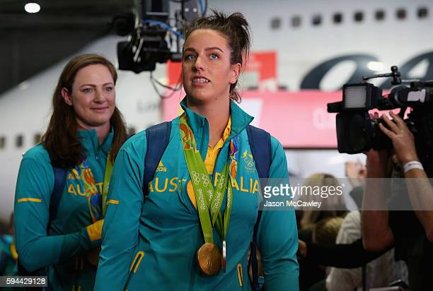 Brittany Elmslie arrives home during the Welcome Home for Australian Olympic Games athletes at Sydney International Airport on August 24 2016 in...