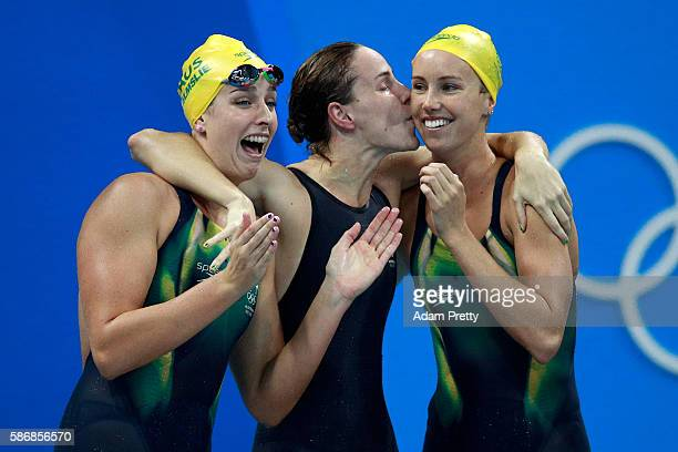 Brittany Elmslie Bronte Campbell and Emma McKeon of Australia celebrate winning gold and a new world record in the Final of the Women's 4 x 100m...