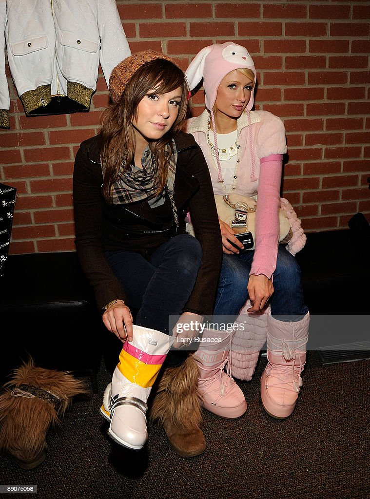 Brittany Flickinger and Paris Hilton visit the Hollywood Life House Suite on January 18, 2009 in Park City, Utah.