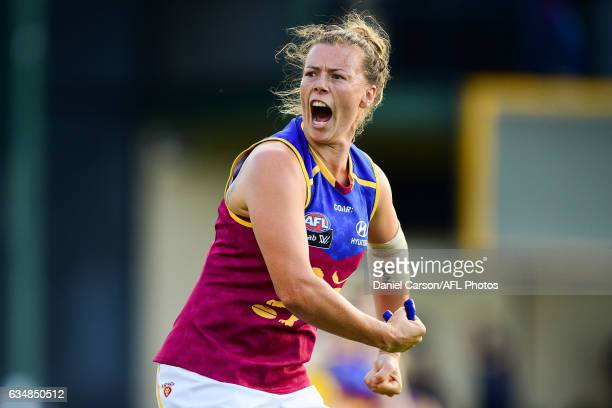 Brittany Gibson of the Lions celebrates the win in the final siren during the 2017 AFLW Round 02 match between the Fremantle Dockers and the Brisbane...