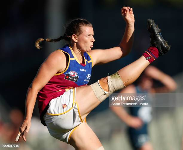 Brittany Gibson of the Lions kicks the ball during the 2017 AFLW Round 07 match between the Carlton Blues and the Brisbane Lions at Ikon Park on...