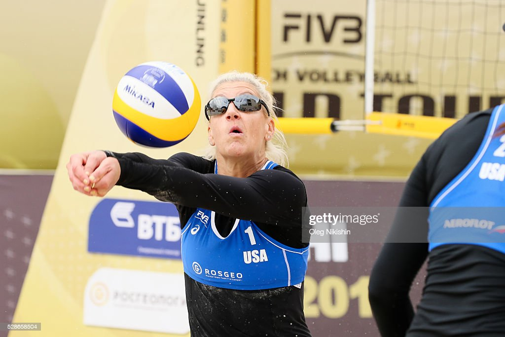 Brittany Hochevar of USA receives a ball during day 4 of FIVB Sochi Open presented by VTB on May 6, 2016 in Sochi, Russia.