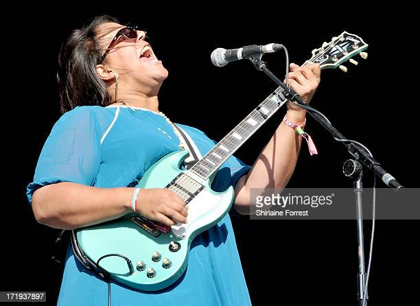 Brittany Howard of Alabama Shakes performs at day 3 of the 2013 Glastonbury Festival at Worthy Farm on June 29 2013 in Glastonbury England
